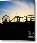 Santa Monica Pier Sunset Photo Metal Print by Paul Velgos