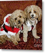 Santa Puppies Metal Print