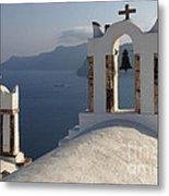 Santorini Churches Metal Print