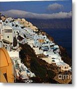Santorini Cliff View Metal Print