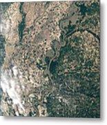 Satellite Image Of Flood Waters Metal Print