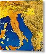 Satellite Image Of Italy Metal Print