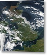 Satellite Image Of Smog Over The United Metal Print