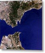 Satellite Image Of The Strait Of Gibraltar Metal Print
