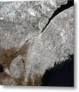 Satellite View Of A Frosty Landscape Metal Print by Stocktrek Images