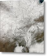 Satellite View Of A Severe Winter Storm Metal Print