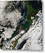Satellite View Of New Zealand Metal Print