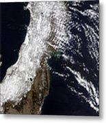 Satellite View Of Northeast Japan Metal Print by Stocktrek Images