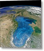 Satellite View Of Swirling Blue Metal Print