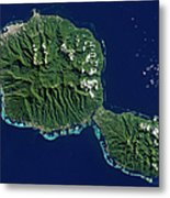 Satellite View Of Tahiti Metal Print