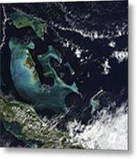Satellite View Of The Bahama Islands Metal Print