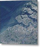 Satellite View Of The Belgium Coastline Metal Print