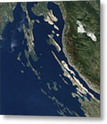 Satellite View Of The Croatian Islands Metal Print