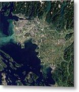 Satellite View Of The Frasier River Metal Print