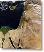 Satellite View Of The Middle East Metal Print