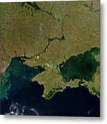 Satellite View Of The Ukraine Coast Metal Print by Stocktrek Images