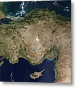 Satellite View Of Turkey And The Island Metal Print