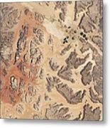 Satellite View Of Wadi Rum Metal Print