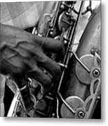 Saxophone Plaayer Metal Print