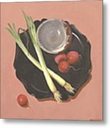 Scallions And Radishes Metal Print