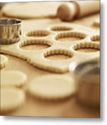 Scalloped Cookie Cutters And Sugar Cookie Dough Metal Print