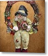 Scarecrow On Autumn Wreath Metal Print by Linda Phelps