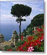 Scenic View Of Villa Rufolo Terrace Metal Print