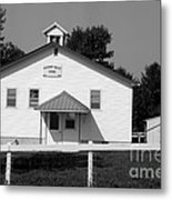 School House In Black And White Metal Print