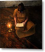 Schoolgirl Sitting On Wood Floor Reading By Candlelight Metal Print