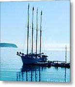 Schooner At Dock Bar Harbor Me Metal Print