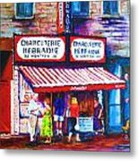 Schwartz's Deli With Lady In Green Dress Metal Print