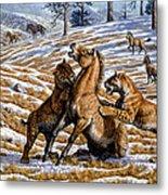 Scimitar Cats Attacking A Horse Metal Print