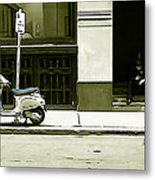 Scooter And Man - Illustration Conversion Metal Print