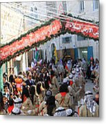 Scouts Marching During Christmas Parade In Bethlehem Metal Print