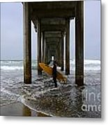 Scripps Pier Surfer 2 Metal Print