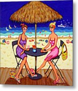 Sea For Two - Girlfriends At Beach Metal Print