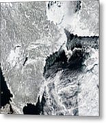 Sea Ice Lines The Coasts Of Sweden Metal Print
