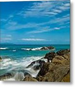 Sea Landscape With Beach Coast Rocks And Blue Sky Metal Print