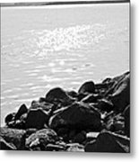 Sea Of Galilee In Black And White Metal Print