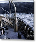 Sea Smoke, Sea Ice, And Icicles Metal Print
