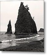 Sea Stacks In The Fog Metal Print