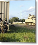 Seabees Prepare To Assault A Simulated Metal Print