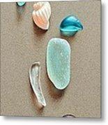 Seaglass Pieces Metal Print