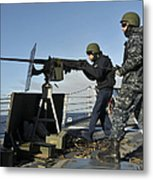 Seaman Fires A .50 Caliber Machine Gun Metal Print