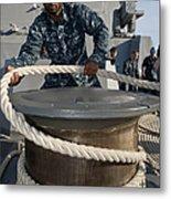 Seaman Runs A Mooring Line Metal Print