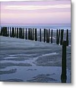 Seascape At Dusk With Pillars In Metal Print