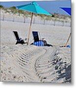 seashore 82 Beach Chairs Beach Umbrella and Tire Treads in Sand Metal Print