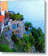 Seaside Villa Amalfi Metal Print