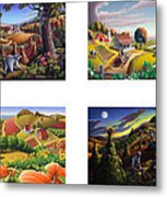 seasonal farm country folk art-set of 4 farms prints amricana American Americana print series Metal Print