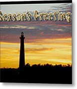 Season's Greetings Card - Cape Hatteras Lighthouse Sunset Metal Print